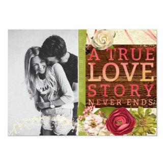 "A True Love Story ""Save The Date"" 13 Cm X 18 Cm Invitation Card"