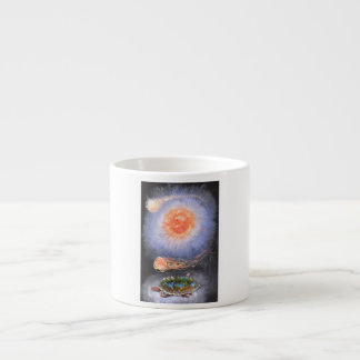 A turtle wondering in galaxy espresso cup