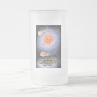 A turtle wondering in galaxy frosted glass beer mug