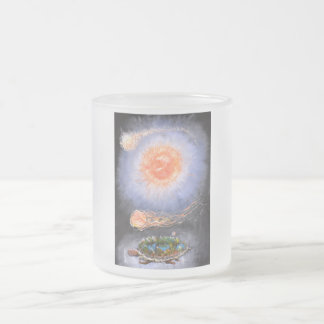 A turtle wondering in galaxy frosted glass coffee mug