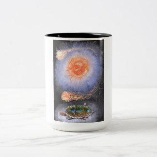 A turtle wondering in galaxy Two-Tone coffee mug