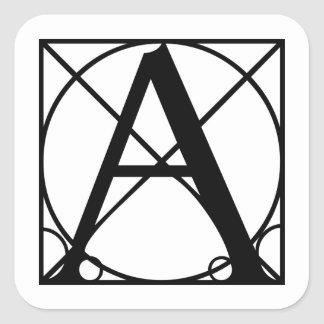 A - Typography Initial Square Sticker
