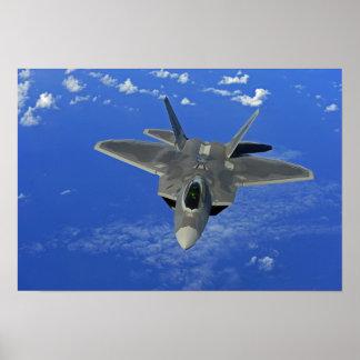 A US Air Force F-22 Raptor in flight near Guam Poster