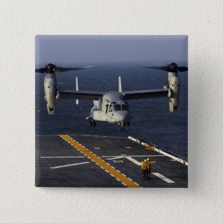 A V-22 Osprey aircraft prepares to land 15 Cm Square Badge