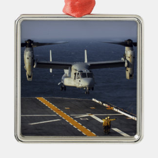 A V-22 Osprey aircraft prepares to land Metal Ornament
