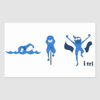 A variety of products with the blue Tri-toon logo. Rectangular Sticker