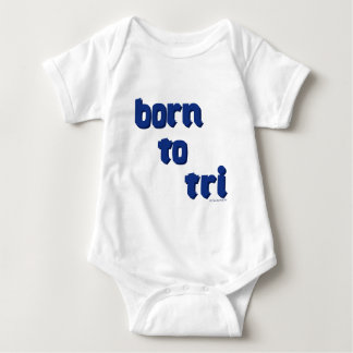 """A variety of products with the """"born to tri"""" logo baby bodysuit"""