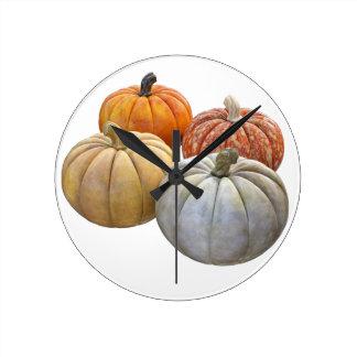 A Variety of Pumpkins Round Clock