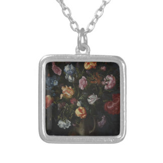 A Vase with Flowers Silver Plated Necklace