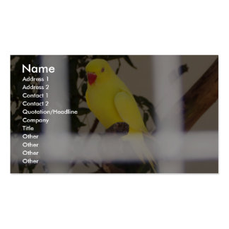 A Very Beautiful Pure Yellow Parrot With Red Peak Business Cards