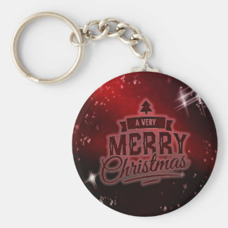 A Very Merry Christmas Basic Round Button Key Ring