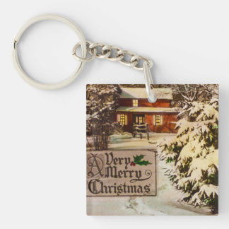 A Very Merry Christmas Classic Traditional Winter Key Ring