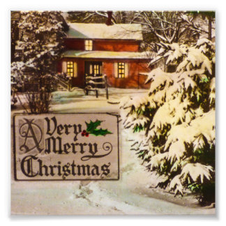 A Very Merry Christmas Classic Traditional Winter Photo Print