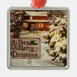 A Very Merry Christmas Classic Traditional Winter Silver-Colored Square Decoration