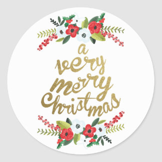 A Very Merry Christmas Floral Gold Round Sticker