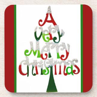 A Very Merry Christmas Tree Holiday Coaster Set