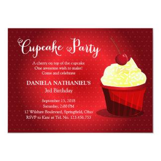 A Very Red Velvet Cupcake Party Birthday Custom Invitations