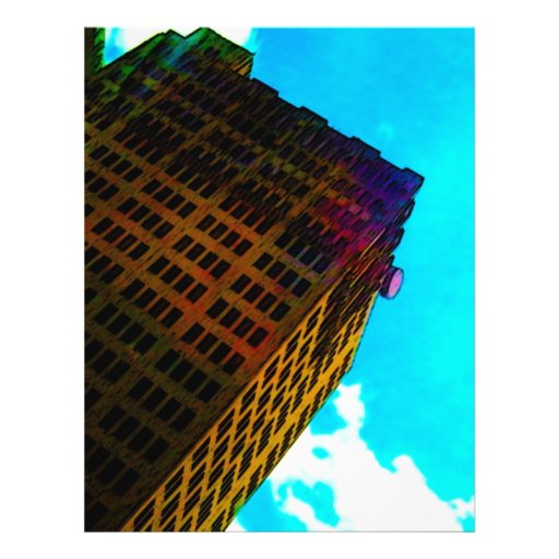 A vibrant and tall building against the  blue sky custom flyer