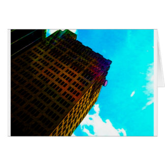A vibrant and tall building against the  blue sky greeting card