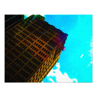 A vibrant and tall building against the  blue sky personalized invitations