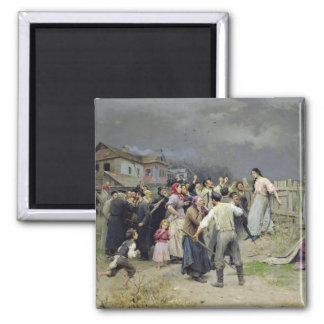 A victim of fanaticism, 1899 square magnet