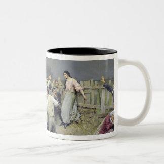 A victim of fanaticism, 1899 Two-Tone coffee mug