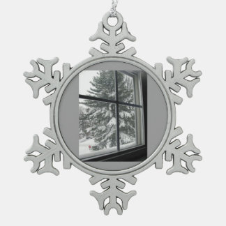 A View of a Snow Covered Evergreen Tree Pewter Snowflake Decoration