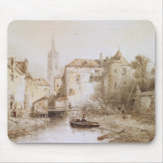 A view of a town with a bell tower mouse pad
