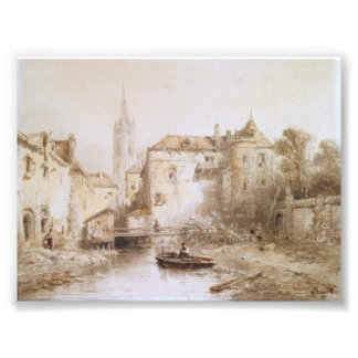 A view of a town with a bell tower photo art