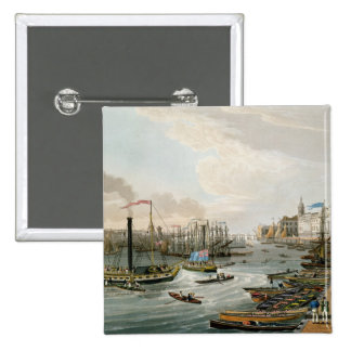 A View of London Bridge and the Custom House 15 Cm Square Badge
