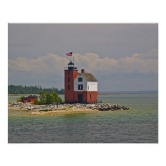 A view of Round Island Light Station. Poster