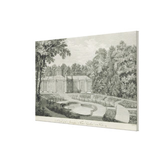A View of the Aviary and Flower Garden at Kew, fro Stretched Canvas Print