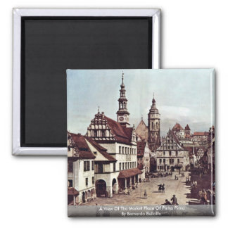 A View Of The Market Place Of Pirna Pirna Square Magnet