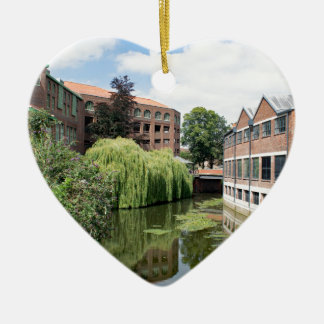 A view of the River Foss in York Ceramic Heart Decoration