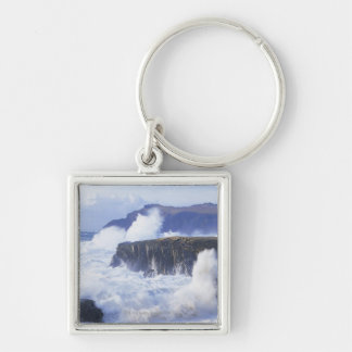 a view of the waves crashing against rocks Silver-Colored square key ring