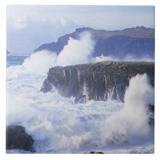 a view of the waves crashing against rocks tile