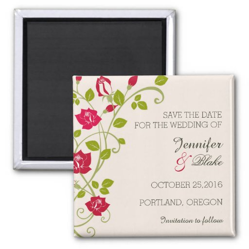 A vine of Roses -Save the Date magnet