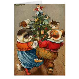 A Vintage Dog and Cat Christmas card