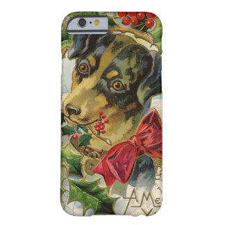 A Vintage Doggy Christmas Greeting Barely There iPhone 6 Case