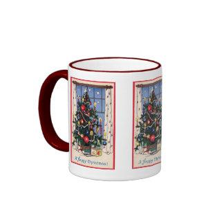 A Vintage  Happy Christmas Tree Coffee Mugs