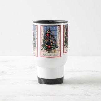 A Vintage  Happy Christmas Tree Coffee Mug