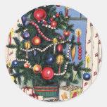 A Vintage  Happy Christmas Tree Round Sticker
