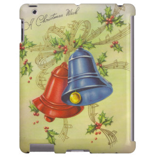 A vintage Merry Christmas Bells iPad cover