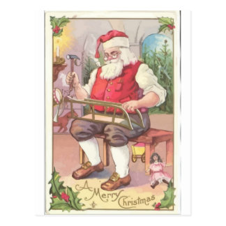 A Vintage Merry Christmas Santa Claus in his Works Postcard