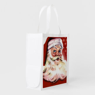 A Vintage Santa Reusable Grocery Bag