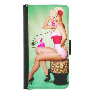 A Vintage Style Pinup Girl Galaxy Wallet Case