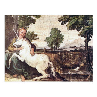 A Virgin with a Unicorn by Domenico Zampieri Postcard