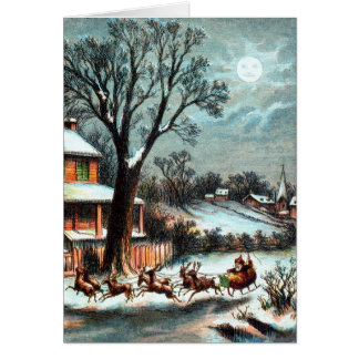 A Visit from Saint Nicholas vintage Christmas Card