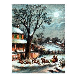 A Visit from Saint Nicholas vintage Christmas Postcard