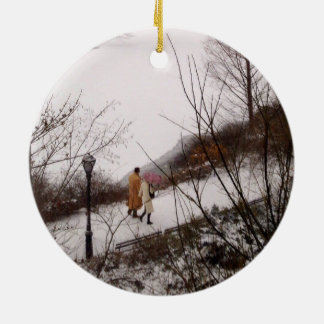 A Walk Around The Pond On A Winter Day Ceramic Ornament